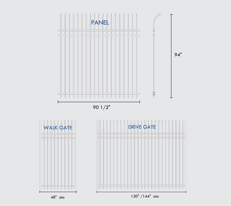 Curved Top Spear Steel Fence Specifications